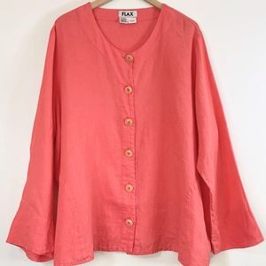 FLAX Linen Coral Pink Cardigan Jacket Blazer 2x